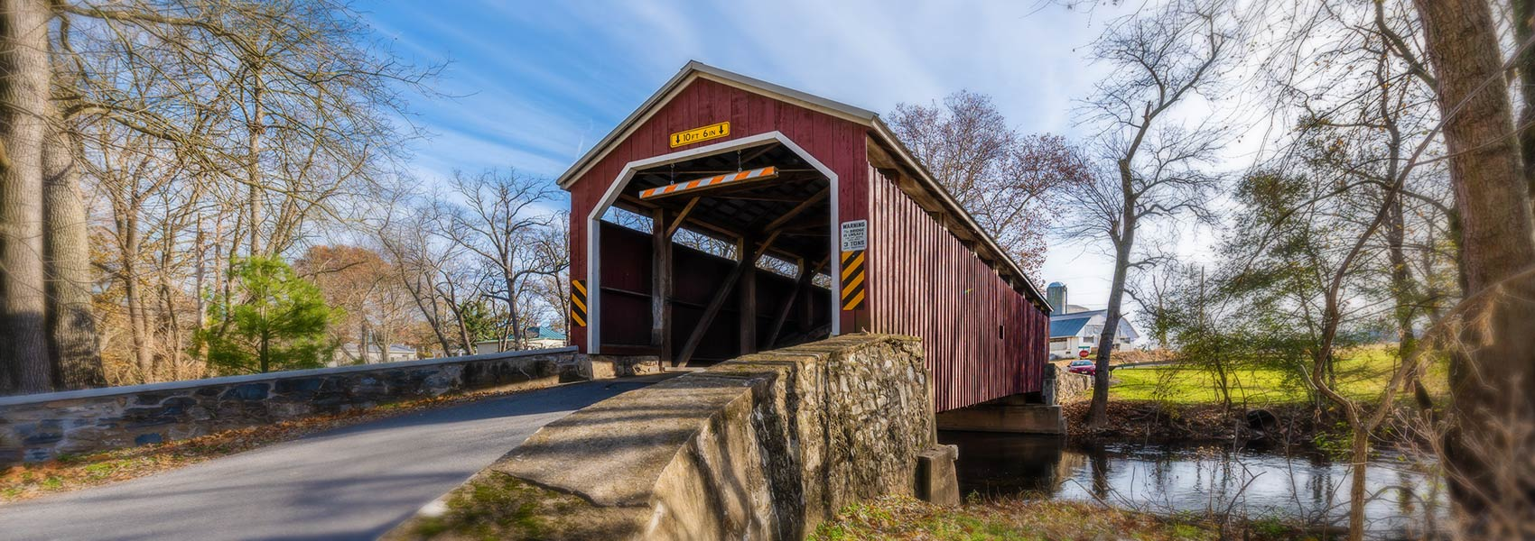 entry to covered bridge
