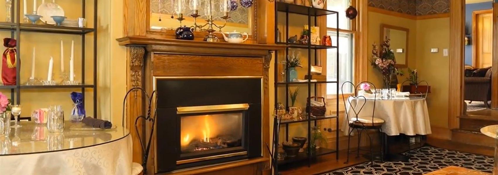 breakfast room gas fireplace