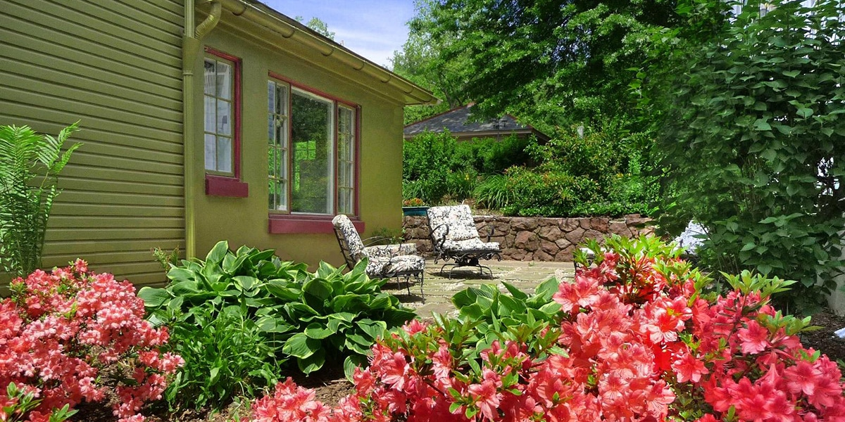 Dragonfly Cottage patio and azaleas